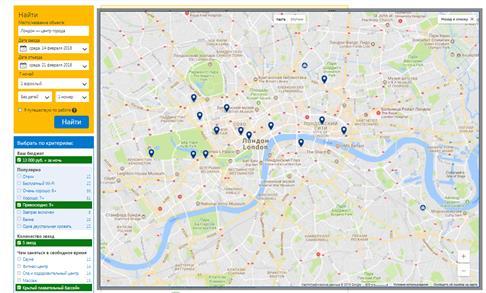 Карта расположения отелей
