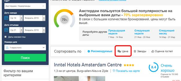 Список отелей