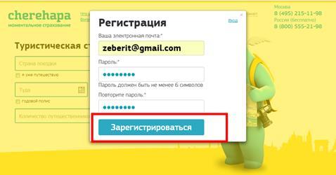 Нужно указать свой емейл, придумать и повторить пароль